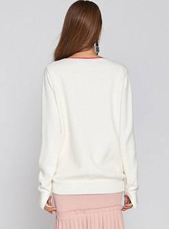 Number Hot Drilling Long Sleeve Sweater