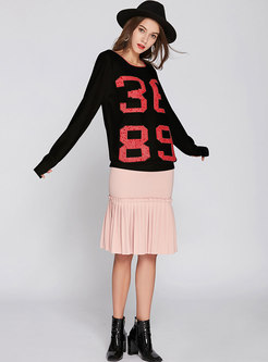 Black Drilling Round Neck Sweater