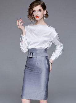 White Elegant Blouse & Work Belted Sheath Skirt