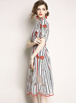 Brief Lapel Embroidery Midi Dress