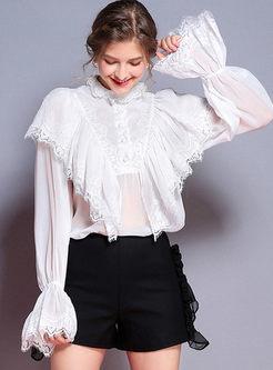 White Elegant Lace Flare Sleeve Blouse