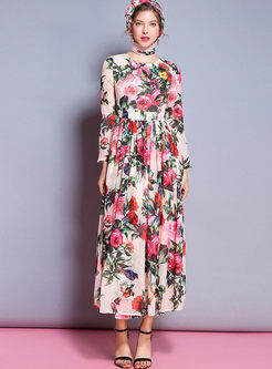 Chic Spangle Print High Waist Maxi Dress
