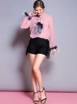 Stylish Tied Feather Splicing Blouse