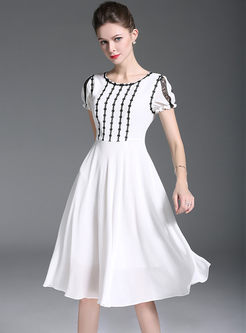 White High Waist Chiffon A Line Dress