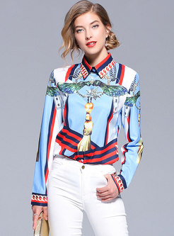 Hit Color Lapel Long Sleeve Blouse