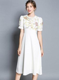 Retro Embroidery Puff Sleeve Midi Dress