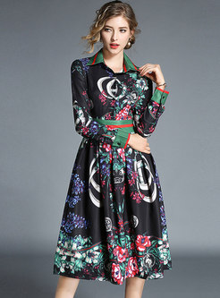Vintage Print Lapel Slim Midi Skater Dress
