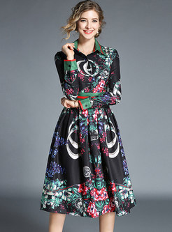 Vintage Printed Lapel Slim Midi Dress