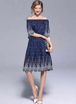 Blue Slash Neck Elastic Waist A Line Dress
