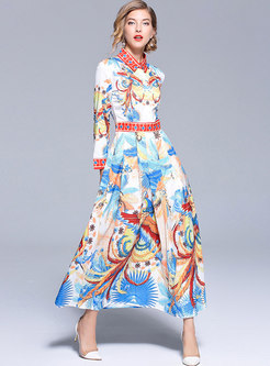 Retro Lapel Slim Big Hem Maxi Dress