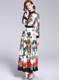 Ethnic Printing Big Hem Color-Blocked Maxi Dress