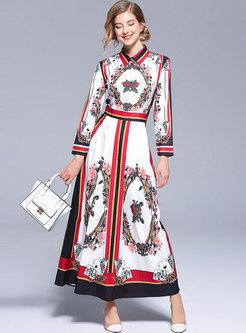 Floral Print Waist Turn Down Collar Maxi Dress