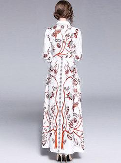 White Slim Printed Tie Prom Dress