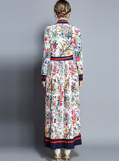 Floral Print Lapel High Waist Maxi Dress