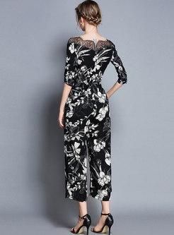 Black Floral Print Slash Neck Jumpsuit