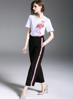 White Embroidery T-shirt & Slit Wide Leg Pants