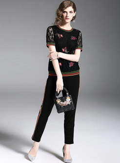 Black Casual Embroidery Lace Two-piece Outfits