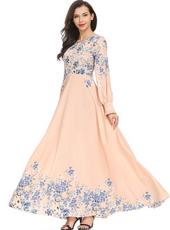 Pink Big Hem Lantern Sleeve Maxi Dress