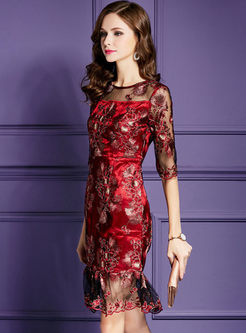 Elegant Slim Embroidery Mermaid Formal Dress