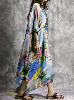 Blue Asymmetric Batwing Sleeve Long Dress