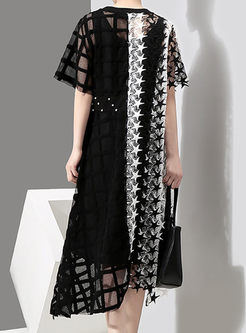 Stylish Star Stitching Asymmetric Plaid Maxi Dress