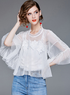 Splicing Gauze Perspective Lace Top With Tanks