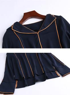 Blue Simple Fashionable Lapel Blouse