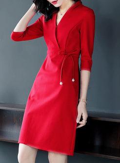 Red Elegant Tied V-neck A Line Dress