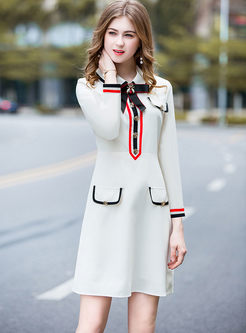 Bowknot Long Sleeve High Waisted Skater Dress