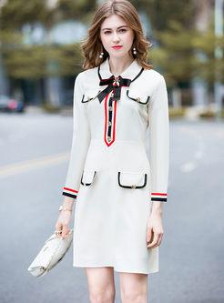 White Bowknot Lapel Long Sleeve Skater Dress