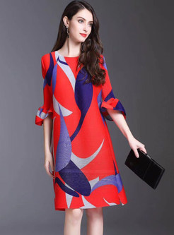 Fashion Flare Sleeve Printing Shift Dress