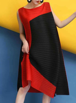 Hit Color Sleeveless Splicing Shift Dress