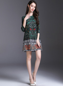 Brown Elegant Print Three-Quarter Sleeve Shift Dress