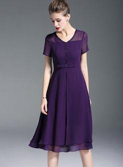 Purple V-neck Waist Chiffon Formal Dress