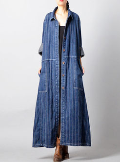Blue Single-breasted Long Denim Coat