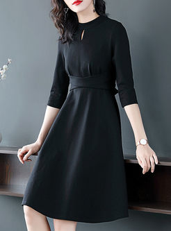Black Three-quarter Sleeve A Line Dress