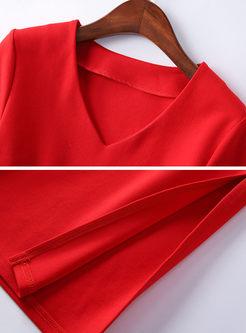 Solid Color V-neck Tied Bodycon Dress
