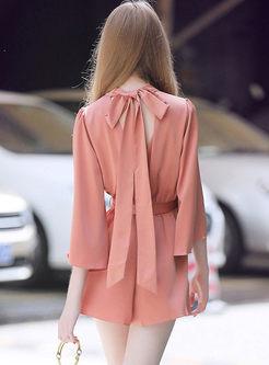 Elegant Bowknot Flare Sleeve Rompers