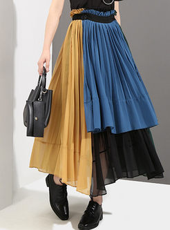 Street Chiffon Contrast Color Pleated Skirt