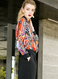 Multicolor Print Casual Street Coat