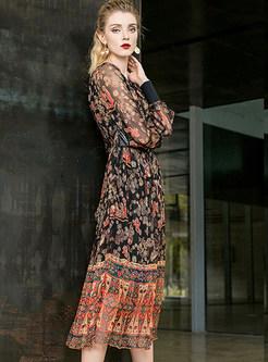 O-neck Long Sleeve Print Maxi Silk Dress