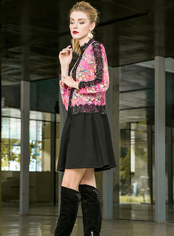 Elegant Lace-Paneled Print Mini Dress