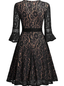 Elegant Flare Sleeve Waist A Line Dress