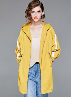 Hooded Loose Drawcord Trench Coat