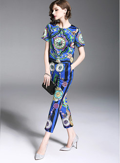 Contemporary Blue Floral Print Two-piece Outfits
