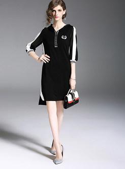 Trendy Three Quarters Sleeve Asymmetric Dress