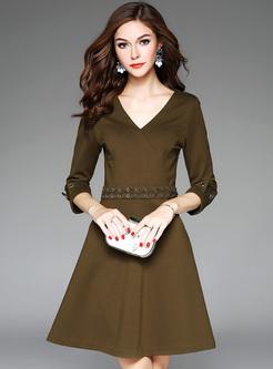 Street V-Neck Three Quarter Sleeve Slim Dress