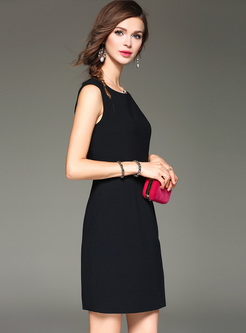 Sleeveless Asymmetric Slim Mini Dress