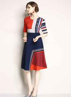 Geometric Graphic Splicing A Line Dress