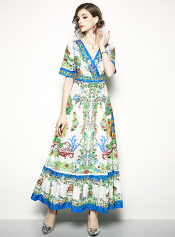 Trendy V-neck High Waist Maxi Dress